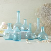 Aquamarine Blue Vintage Bottles - Set of 7