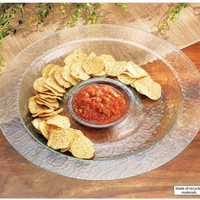 Bent Glass Chip and Dip Bowl