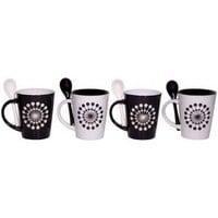 Black and White Mugs with Spoons  - Set of 4