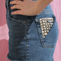 Vintage Studded Pocket High Waisted Denim Shorts
