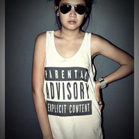Parental Advisory Tank Top Shirt T-Shirt Women & Men Unisex Size M , L