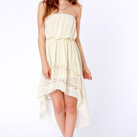 High-Low, How Are You? Strapless Cream Dress