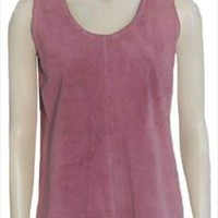 1970s The Maggies Hippie Pink Suede Vintage Top