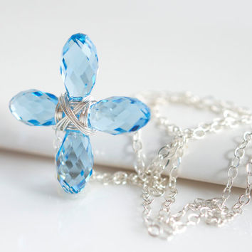 Blue Topaz Swarovski Cross Necklace, Religious Jewelry, Topaz Necklace, Cross Necklace, Blue Necklace, Birthstone Necklace