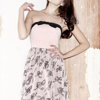 Pink Strapless Dress - Pink and black bow print | UsTrendy