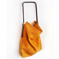 Yellow Tote - Yellow suede leather tote | UsTrendy