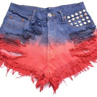 50% SALE Studded and dip dyed high waist shorts L