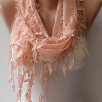 Peach Scarf - Gift - Lace Scarf  with Trim Edge