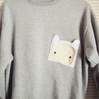 Adventure Time Finn the Human Asymmetrical Pocket Sweater