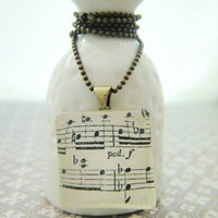 Vintage Music Sheet Square Glass Pendant 1 inch Brass Necklace