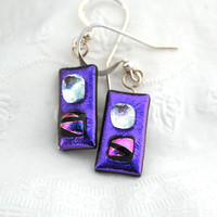 Dichroic Fused Glass Dangle Earrings Purple with Silver