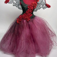 Tattered Rose Fairy Dress Costume Made to by Deconstructress