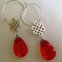Red teardrop with silver chinese knot on a 25mm silver hoop earring