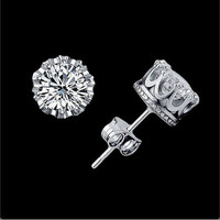 accessoryinlove  Silver CZ Crown Shape Studs