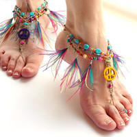 Hippie Barefoot Sandals Colorful Peace Feather Feet Hippie Shoes Toe Thong Bottomless Hemp Sandals Summer Festivals