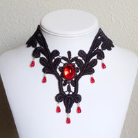 Black venetian lace bib choker necklace with red puffy by Arthlin