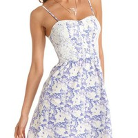 Lace Inset Floral A-Line Dress: Charlotte Russe