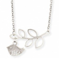Silver Bird & Leaf Necklace