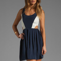 BB Dakota Ripley Colorblock Cupra Touch Dress in Navy/White from REVOLVEclothing.com