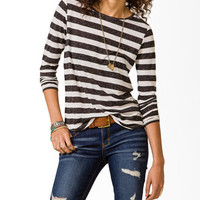 High-Low Striped Knit Top