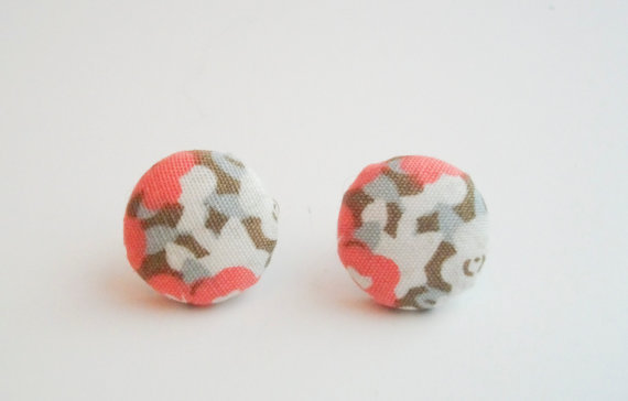 Coral floral fabric earrings by Reneeloveandco on Etsy