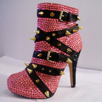 Pink Rhinestone Booties W/ Gold Spikes by uniquezaccess on Etsy