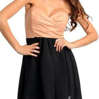 Faux Leather Sweetheart Dress