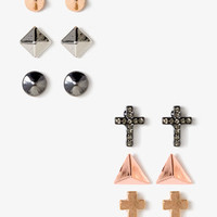 Crosses & Spikes Stud Set | FOREVER 21 - 1049955487