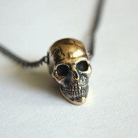 Skull Necklace in Solid Bronze Skull by mrd74 on Etsy