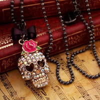 Red roses  set auger skull necklace by fenasd99321 on Etsy