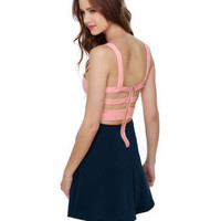 Cute Color Block Dress - Open Back Dress - $40.00