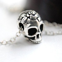 Sugar Skull Necklace Dia De Los Muertos Day of by paperfacestudio