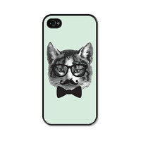 Cat Apple iPhone 4 Case - Plastic iPhone 4 Cover - Funny iPhone 4 Skin - Mint Green Grey Black French Mustache Glasses Bowtie Phone