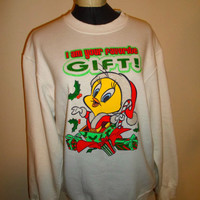 90s Ugly Christmas Crewneck Sweatshirt, tweety bird glitter pullover sweater, xmas party