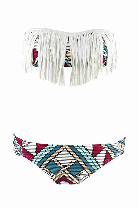 L*Space Dolly Fringe Bandeau Bikini Top in Multi