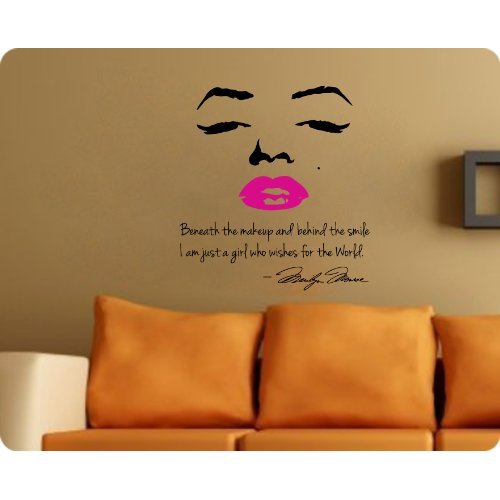 Marilyn monroe wall decal decor quote from amazon home for Nice white wall decal quotes