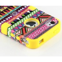 Amazon.com: Yellow 3-Piece Tribal Pattern High Impact Hard Case Cover For iPhone 4 4S 4G: Cell Phones & Accessories