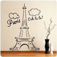 Paris Eiffel Tower Ooh La La Wall Decal Decor France Love Hearts Large Nice Sticker