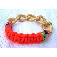 Neon Friendship Bracelet with Chunky Gold Chain
