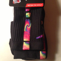 Custom Nike Elite Black or Red Swirl Colorful Sock Special