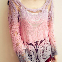 Lace With Rainbow Color Floral Pattern Blouse in Purple [5097]