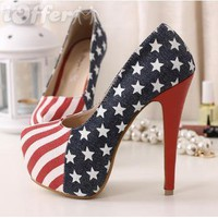 RED WHITE & BLUE STILLETTO HEELS