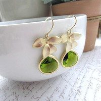 A Matte Gold Plated Orchid Flower Olivine Green Glass Framed Jewel French Drop Earrings.  Bridesmaid Gifts. Modern Everyday Jewlery
