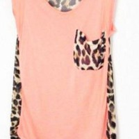 Leopard Patchwork Sleeveless Pink Chiffon Blouse