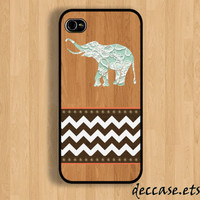 IPHONE 5 CASE lace elephant on wooden chevron iPhone 4 case iPhone 4S case iPhone case Hard Plastic Case Soft Rubber Case
