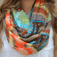 Infinity Scarf, Circle Scarf, Eternity Scarf, Brown, Orange, Aqua, Apple Green, Yellow
