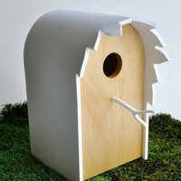 Modern Birdhouse  Canopy series in Birch by StudioLiscious on Etsy