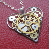 Mechanical Heart Necklace &quot;Tale&quot; Clockwork Gears Heart Steampunk Necklace Clockwork Love Sculpture by A Mechanical Mind Gear Heart Pendant