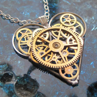 Mechanical Heart Necklace &quot;Epic&quot; Clockwork Gears Heart Steampunk Necklace Clockwork Love Sculpture by A Mechanical Mind Valentines Day