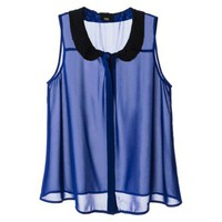 Mossimo Women&#x27;s Peter Pan Collar Sleeveless Blouse -Blue
